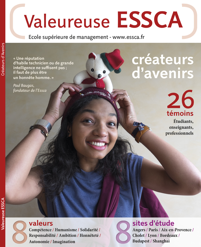 ESSCA livre valeureuse ESSCA conception graphique, photographie, édition par creazen, studio de création graphique version française et anglaise, ecole superieure de management ESSCA